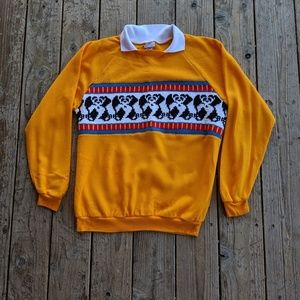 Vintage Good Stuff Panda Collared Pullover Sweater